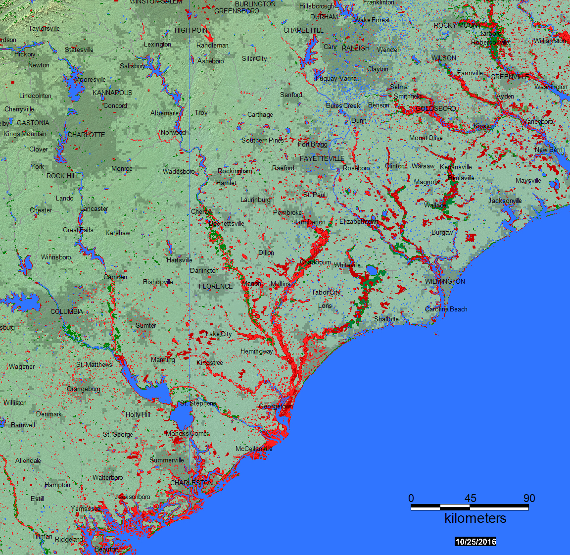 Flood USA - Map southeastern us